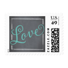 Chalkboard Script Blue Love Postage Stamp