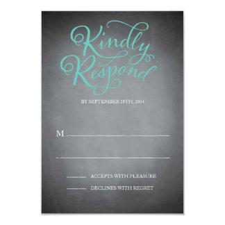 Chalkboard Script Blue Response 3.5x5 Paper Invitation Card