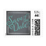 Chalkboard Script Blue Save the Date Stamps
