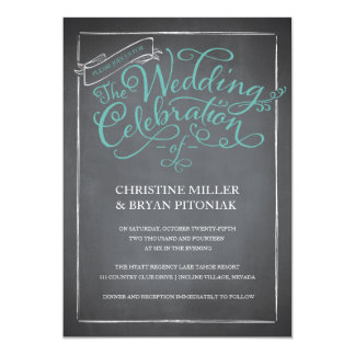 "Chalkboard Script Blue Wedding Invitation 5"" X 7"" Invitation Card"