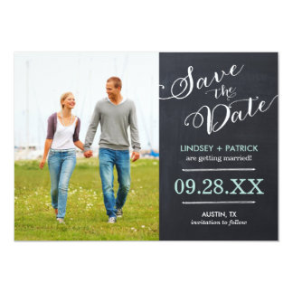 Chalkboard Script Modern Photo Save the Date 5x7 Paper Invitation Card