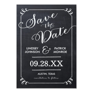 CHALKBOARD SCRIPT MODERN TYPOGRAPHY SAVE THE DATE CARD
