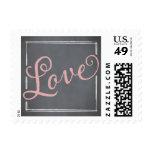 Chalkboard Script Pink Love Postage Stamps