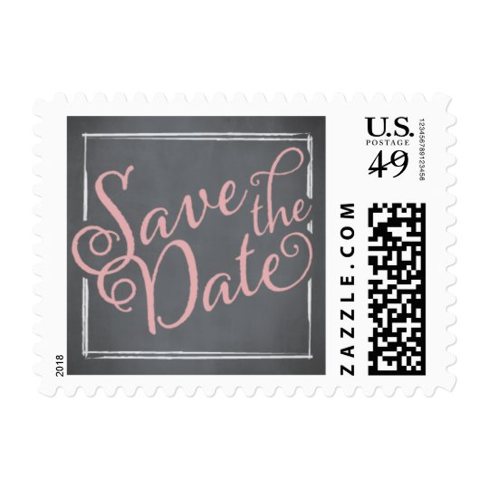 Chalkboard Script Pink Save the Date Postage