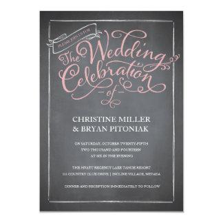 Chalkboard Script Pink Wedding Invitation