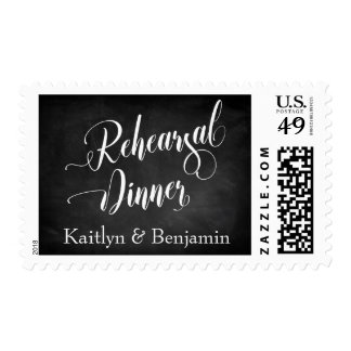 Chalkboard Script Rehearsal Dinner with Names Postage