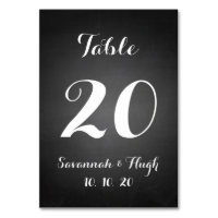 Chalkboard Script Wedding Table Number Card