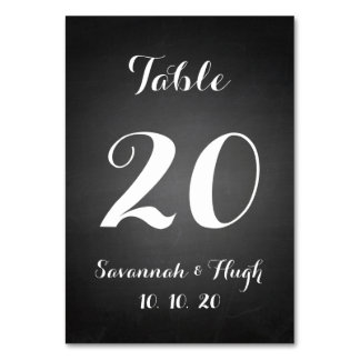 Chalkboard Script Wedding Table Number Card Table Cards
