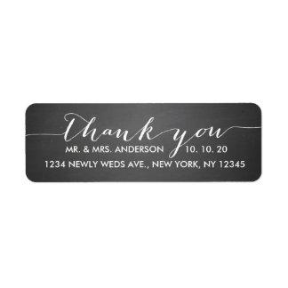 Chalkboard Script Wedding Thank You Return Address Label