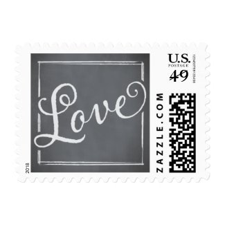 Chalkboard Script White Love Postage Stamps