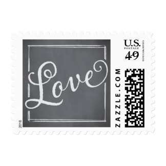 Chalkboard Script White Love Postage
