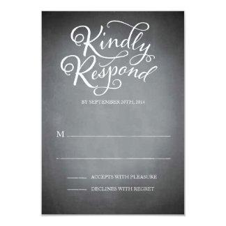 Chalkboard Script White Response 3.5x5 Paper Invitation Card