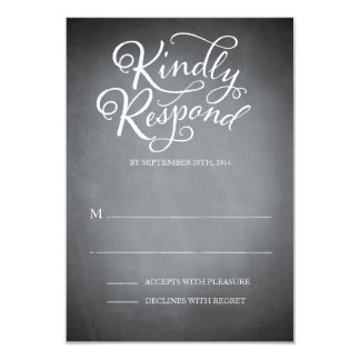 "Chalkboard Script White Response 3.5"" X 5"" Invitation Card"