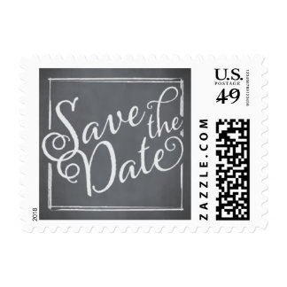 Chalkboard Script White Save the Date Postage