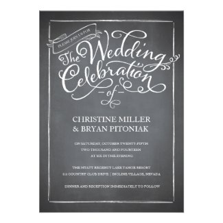 Chalkboard Script themed wedding collection in white, blue or pink