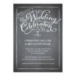 """Chalkboard Script White Wedding Invitation 5"""" X 7"""" Invitation Card"""