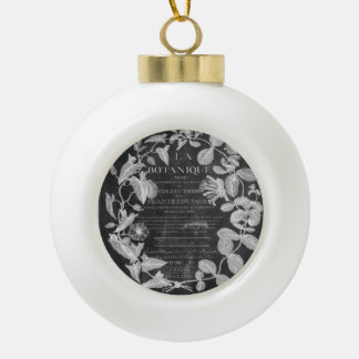 chalkboard scripts french botanical art ivy leaves ceramic ball christmas ornament