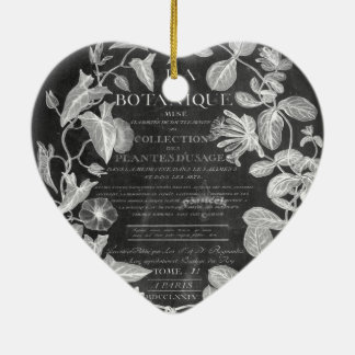 chalkboard scripts french botanical art ivy leaves ceramic ornament