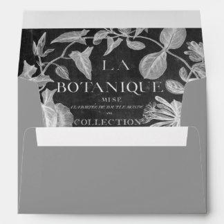chalkboard scripts french botanical art ivy leaves envelope