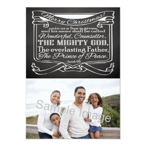 Chalkboard Scripture Christmas 5x7 Paper Invitation Card