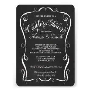 Chalkboard Scroll Couples Shower Calligraphy Announcement