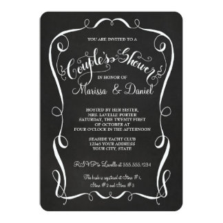 Chalkboard Scroll Couples Shower Calligraphy 5x7 Paper Invitation Card