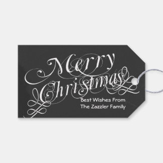 chalkboard Scroll Font Merry Christmas Gift Tags