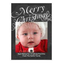 Chalkboard Scroll Font Merry Christmas Template Custom Announcements