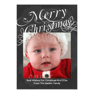 Chalkboard Scroll Font Merry Christmas Template 5x7 Paper Invitation Card