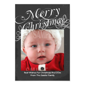 Chalkboard Scroll Font Merry Christmas Template Magnetic Invitations