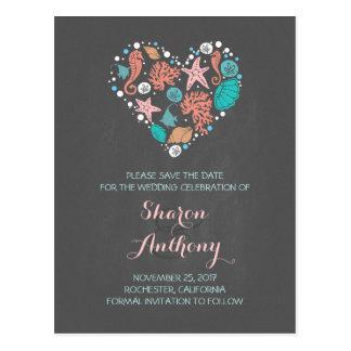 chalkboard sea heart beach wedding save the date postcard