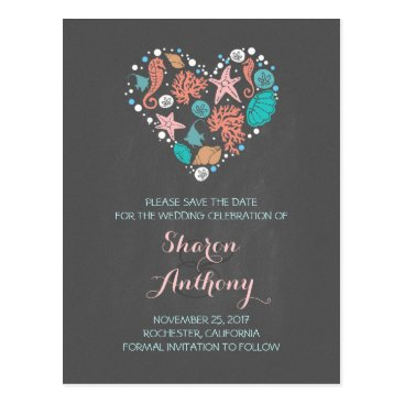 Beach Themed chalkboard sea heart beach wedding save the date postcard