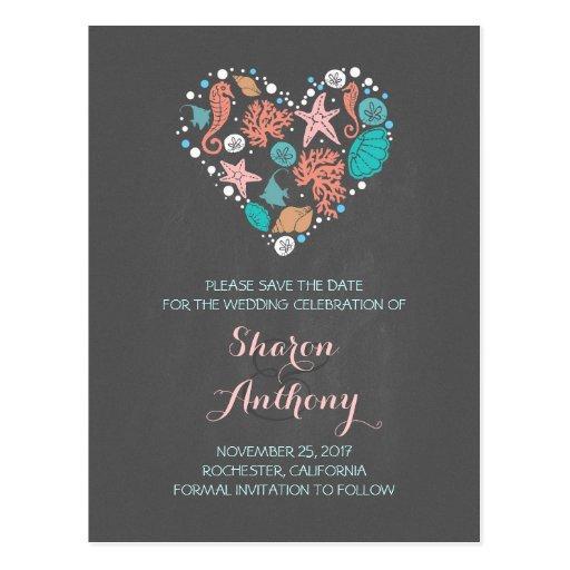 Chalkboard sea heart beach wedding save the date postcard zazzle