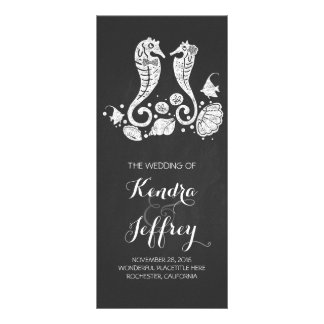 Chalkboard Seahorses Beach Wedding Programs