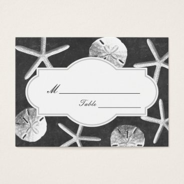 Beach Themed Chalkboard Seashells Beach Wedding Place Card