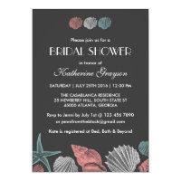 Chalkboard Seashells Invitation for Beach Wedding
