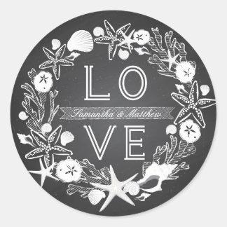 Chalkboard Seashells LOVE Sticker