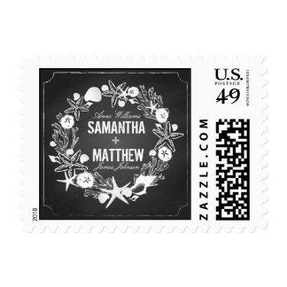 Chalkboard Seashells Wedding Stamp