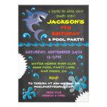 Chalkboard Shark Pool Birthday Party Invitations Announcement
