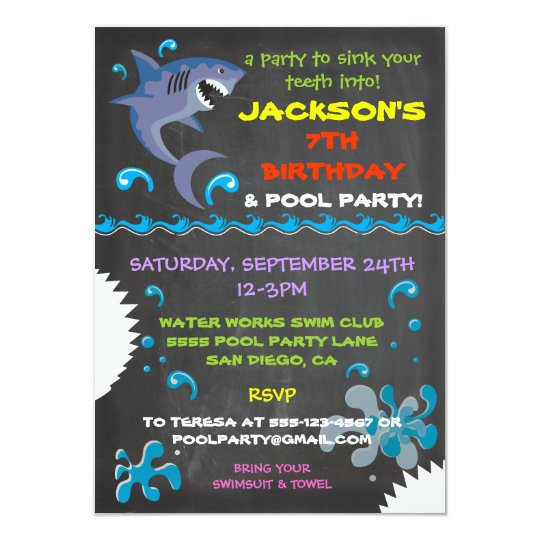 Chalkboard shark pool birthday party invitations zazzle chalkboard shark pool birthday party invitations filmwisefo