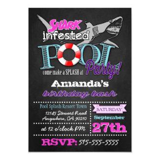 Chalkboard Shark Pool Party Birthday Invitations