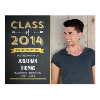 Chalkboard Shine Graduation Announcement Post Card