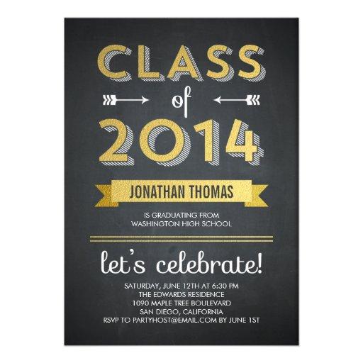 Chalkboard Shine Graduation Invitation