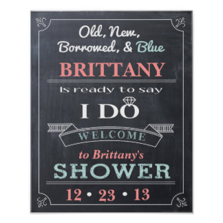 Chalkboard Shower Sign Welcome Poster