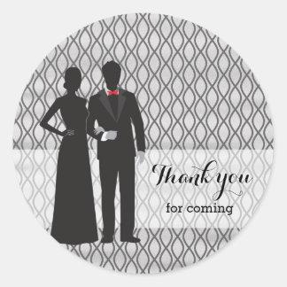 Chalkboard silhoutte couples classic round sticker