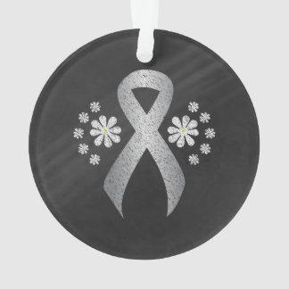 Chalkboard Silver Ribbon Ornament