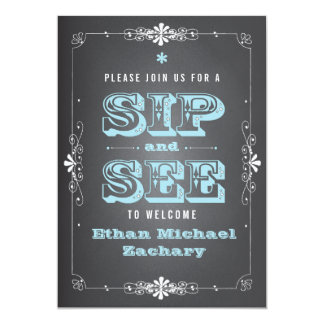 Chalkboard Sip and See Baby BoyInvitation 5x7 Paper Invitation Card