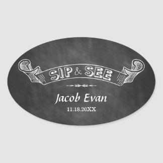 Chalkboard Sip and See Party Baby Oval Sticker