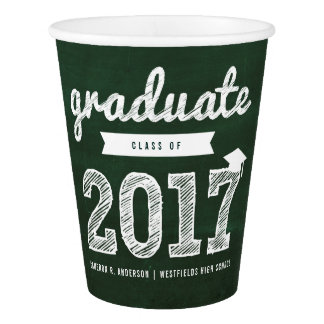 Chalkboard Sketch 2017 Graduation Party Paper Cup
