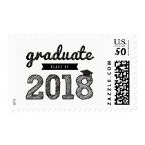 Chalkboard Sketch Graduate Class Of 2018 Stamps